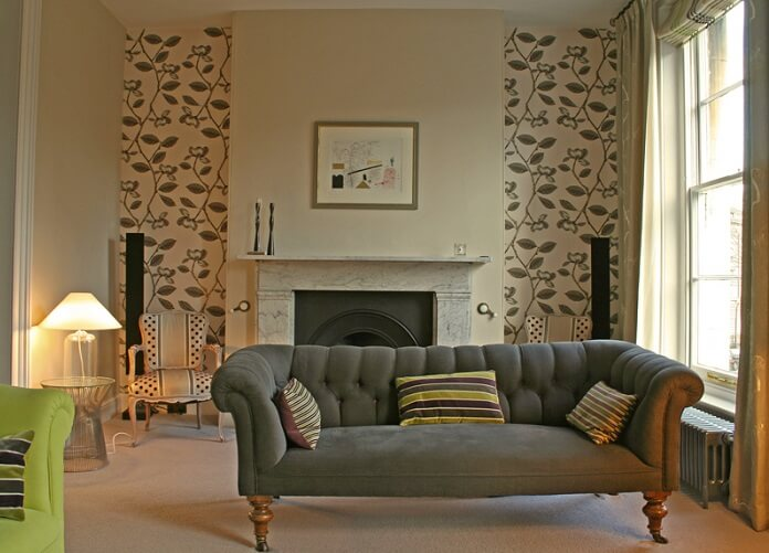 an elegant fireplace in a living room