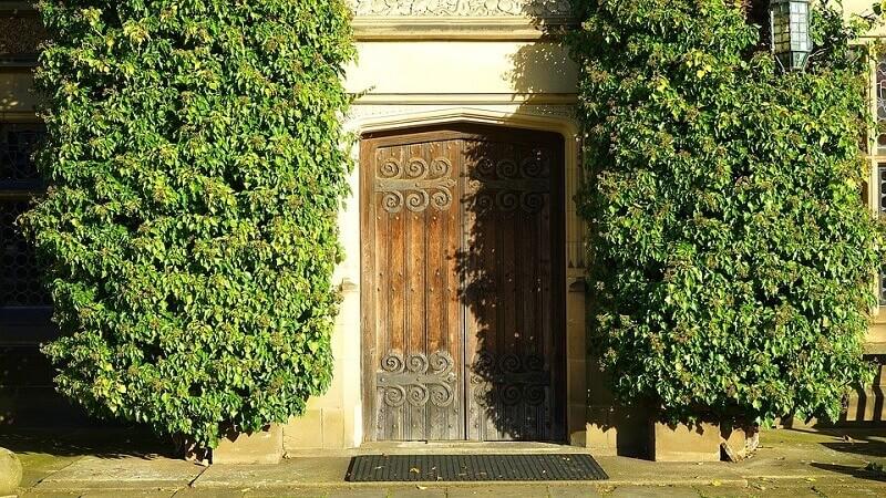 an old vintage house door