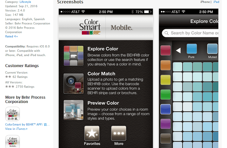 itunes printscreen of colorsmart app