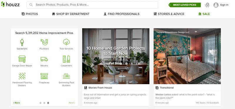 houzz interior design app printscreen