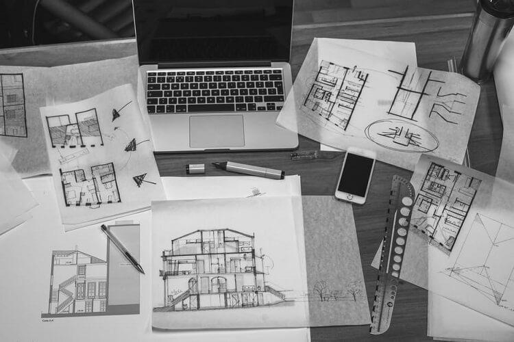 several interior design sketches