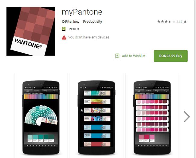 mypantone app screen caption