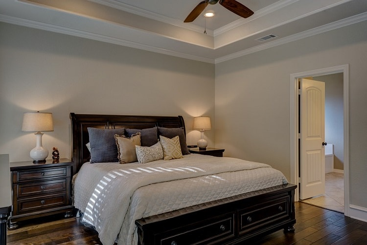 a large classic master bedroom