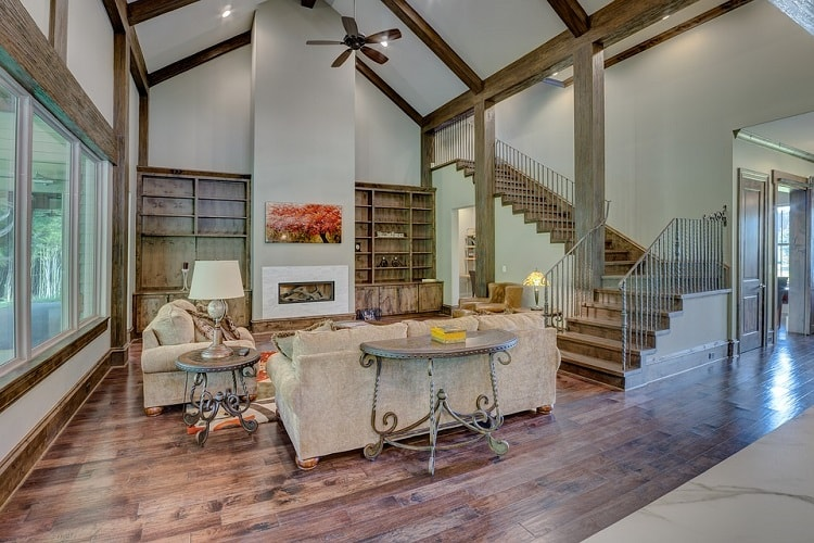 a classic living room with high ceilings