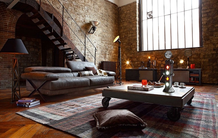 a living room with industrial influences