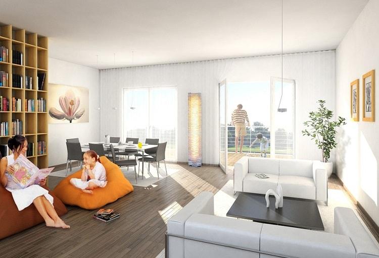 a family in an urban modern living room
