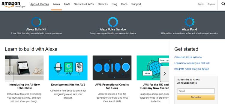 amazon alexa homepage screenshot