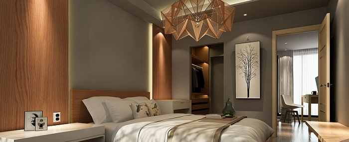 the image of an elegant master bedroom with an interesting lighting fixture