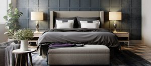 a modern yet elegant master bedroom