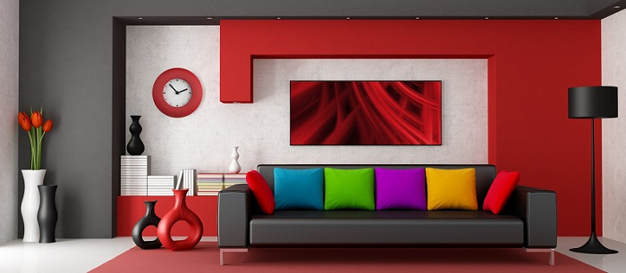 a modern interior decor in a living room