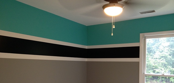 a room painted with three colors