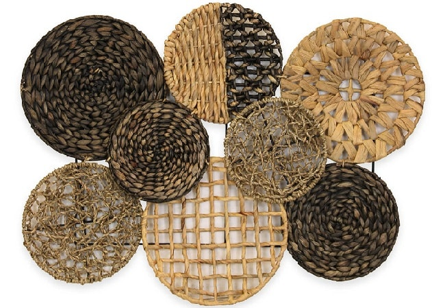 an woven wall art round shapes of different patterns and sizes