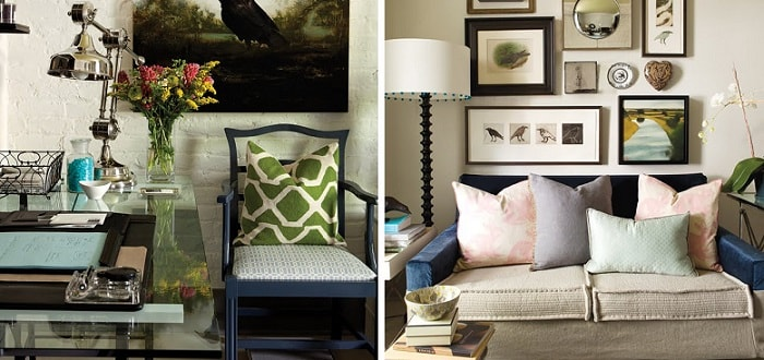 an image collage of two examples of home interior decor eclectic style