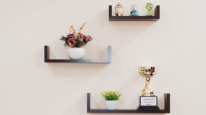plants and trophy on shelves mounted on a white wall
