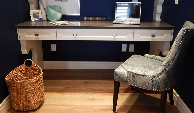 a cozy home office with a simple desk and a vintage-looking chair