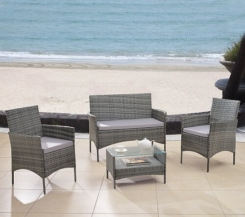 Divano Roma Furniture Modern Outdoor Garden, Patio 4 Piece Seat