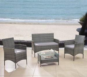 Divano Roma Furniture Modern Outdoor Garden, Patio 4 Piece Seat wicker set