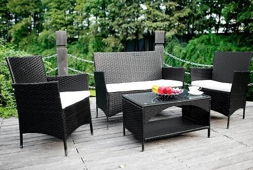 Merax 4-piece Outdoor PE Rattan Wicker Sofa and Chairs Set
