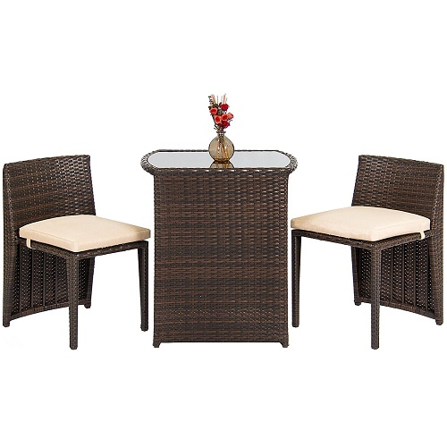 Outdoor Patio Furniture Wicker 3pc Bistro Set W/ Glass Top Table, 2 Chairs- Brown