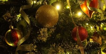 closeup on decorations of a christmas tree
