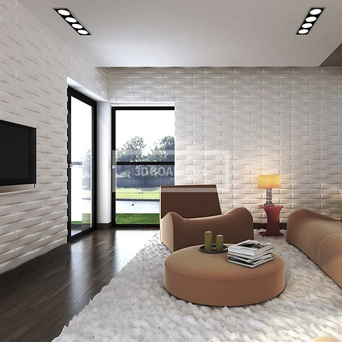 living room with 3D Board Art Decorative Wall Panels