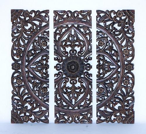 Benzara Modern Wood Wall Panel with Dark Finish