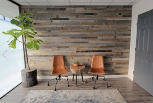 room with two chairs, small table, plant and Epic Artifactory DIY Reclaimed Barn Wood Wall