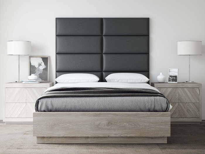 queen size bedroom with Vänt Upholstered Wall Panel