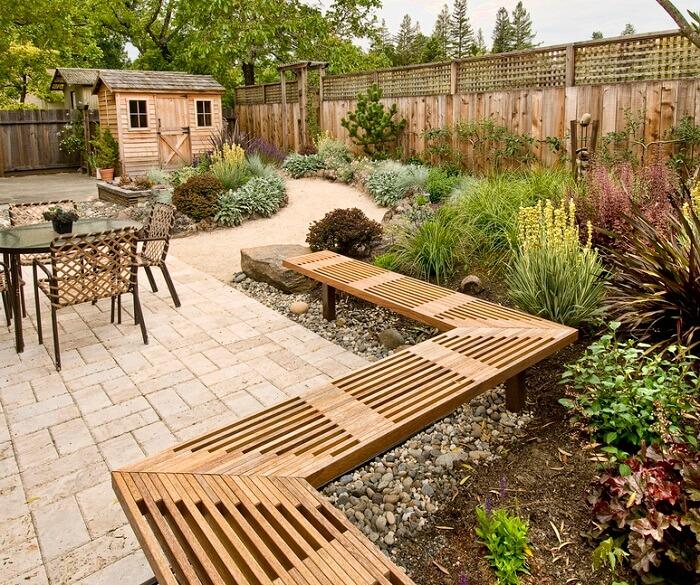 backyard patio with garden plants
