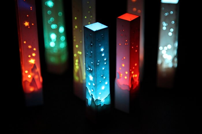 colorful laser led light towers with different patterns