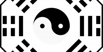 a bagua map with Yin and Yang symbol in the middle